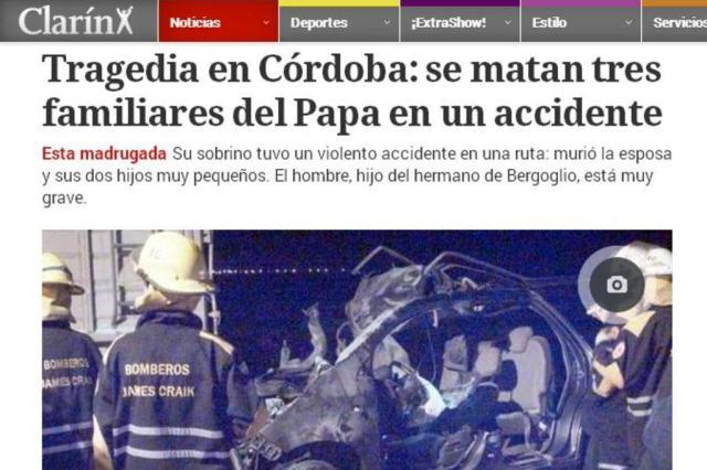 Três familiares do papa Francisco morrem em acidente na Argentina Reprodução/Clarin