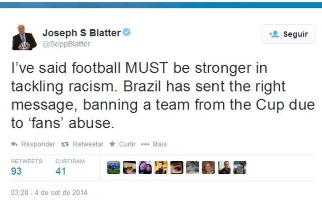 Presidente da Fifa elogia decisão do STJD que exclui Grêmio da Copa do Brasil @SeppBlatter/Twitter/Reprodução