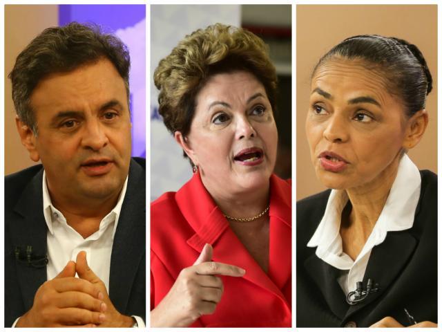 Datafolha: Dilma aparece com 40%, Marina tem 27%, e Aécio, 18% Montagem sobre fotos de Tadeu Vilani / Agência RBS, Ichiro Guerra / Divulgação e Bruno Alencastro / Agência RBS/