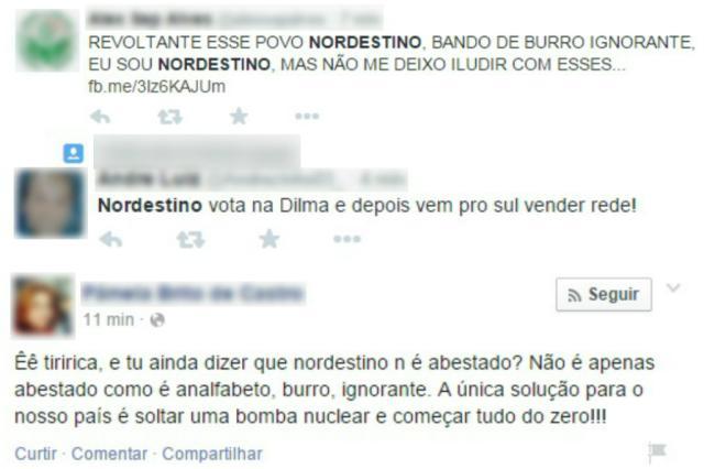 Com vitória de Dilma, nordestinos são alvo de ódio nas redes sociais Reprodução/Twitter