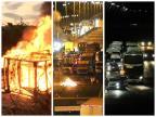 Fogo, bloqueio de estradas e congestionamento: como foi a segunda na Região Metropolitana Montagem sobre foto de Jaques Machado/ Rádio Gaúcha, Triunfo Concepa, divulgação e Ronaldo Bernardi, Agência RBS/