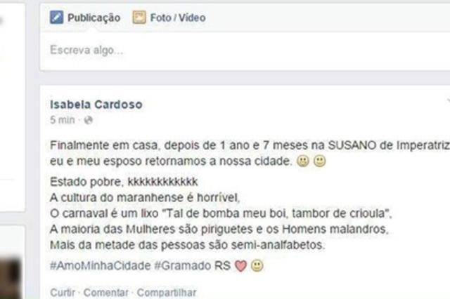 Perfil investigado por preconceito já teria ofendido Maranhão antes, relata promotor Reprodução/Facebook