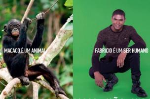 """Marca causa polêmica com campanha contra o preconceito: """"Macaco é um animal, Fabricio é um ser humano"""" Reprodução/Reserva"""