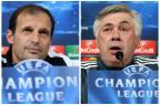 Técnicos de Juventus e Real Madrid prometem atacar no confronto desta terça-feira Montagem sobre fotos/AFP