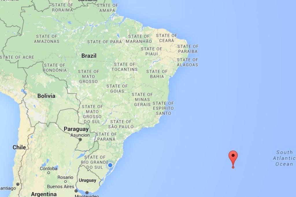 Bola de fogo explodiu a mil quilômetros da costa do Brasil Google Maps/Reprodução