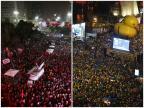 Manifestações contra e a favor do impeachment tomaram o país em domingo de votação Miguel Schincariol e Nelson Almeida /AFP