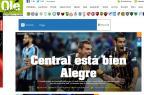 """Olé brinca com vitória do Rosario Central sobre o Grêmio: """"Bien Alegre"""" Reprodução/Olé/"""