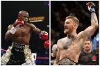 """""""Muita idiotice"""", opina Esquiva Falcão sobre possível luta entre Mayweather e McGregor Montagem sobre fotos / AFP/AFP"""