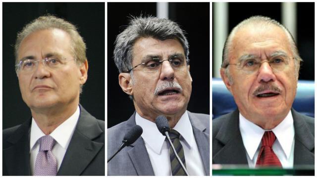 Janot pede inquérito contra Renan, Jucá e Sarney ao Supremo, afirma jornal Montagem com fotos da Agência Senado/