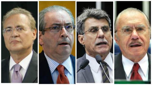 Janot pede prisão de Cunha, Renan, Sarney e Jucá por tentarem barrar Lava-Jato Montagem/Agência Senado/AFP