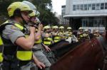 Policiais realizam protesto pela morte de soldado