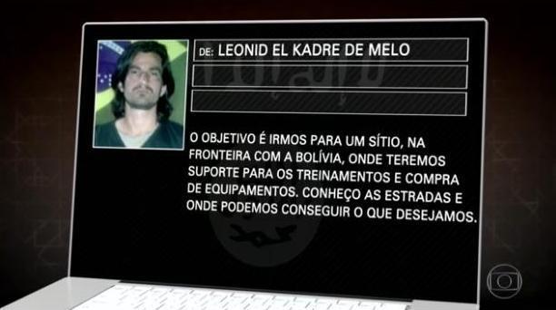E-mail mostra convite a grupo para treinamento terrorista no Brasil Reprodução ZH / Fantástico-Rede Globo/Fantástico-Rede Globo