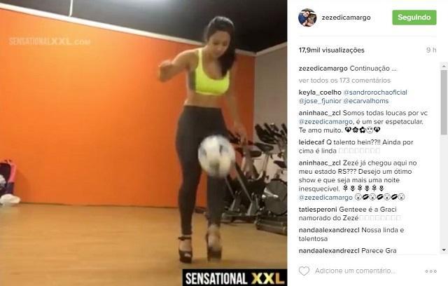 Zezé compartilha vídeo de site pornô em que morena faz embaixadinha, e seguidores a confundem com Graciele Reprodução / Instagram/Instagram