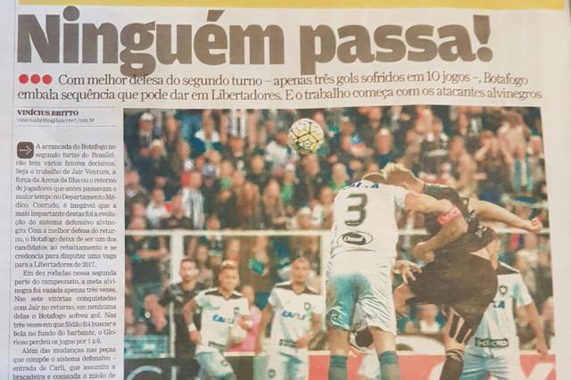 Imprensa do Rio exalta defesa do Botafogo e destaca momento de Vitinho no Inter  Rodrigo Oliveira / Reprodução/Reprodução