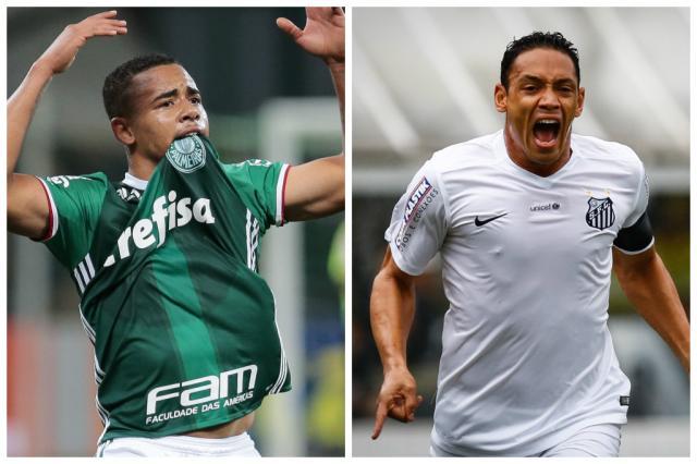Jornais paulistas destacam Palmeiras misto e Santos com força máxima contra a Dupla Montagem sobre fotos / BD/BD