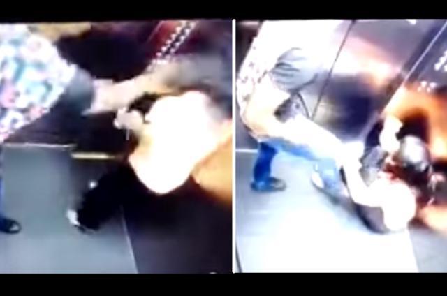 Câmera flagra jogador de futebol agredindo a própria mulher em elevador Reprodução/
