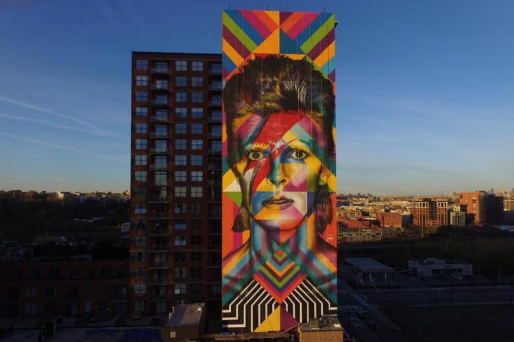 Eduardo Kobra pinta David Bowie em mural gigantesco nos Estados Unidos John Winter/Divulgação