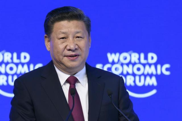 Discurso de Xi Jinping no Fórum Econômico Mundial em Davos, Suíça FABRICE COFFRINI/AFP