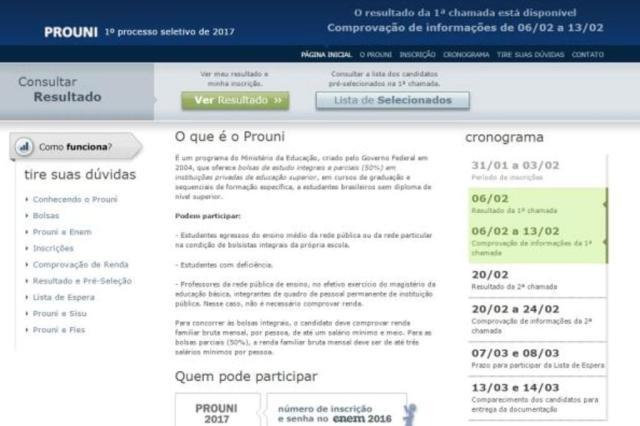 MEC retira botão para acessar a lista de aprovados do site do Prouni e gera reclamações Reprodução/Reprodução