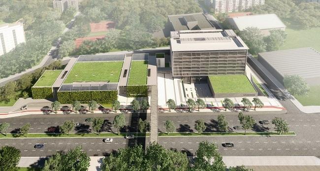 Unisinos tem complexo em Porto Alegre projetado pela AT Arquitetura com paredes e telhados verdes e um tubo sobre a avenida AT Arquitetura / Divulgação/Divulgação