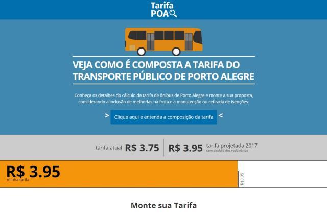 Página possibilita simular tarifa dos ônibus e enviar proposta à prefeitura Reprodução/