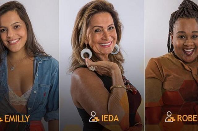 Ieda, Roberta e Emilly estão em mais um paredão triplo Reprodução/Twitter