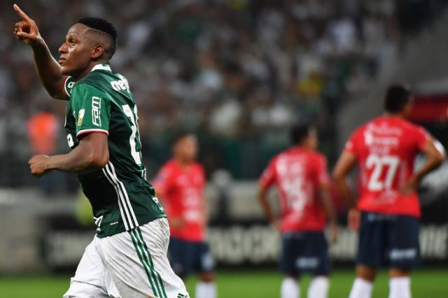 Nos acréscimos, Mina marca e Palmeiras vence oJorge Wilstermann NELSON ALMEIDA / AFP/AFP
