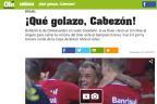 """Diario Olé destaca gol de falta de D'Alessandro: """"¡Qué golazo, Cabezón!"""" Reprodução / Olé/Olé"""