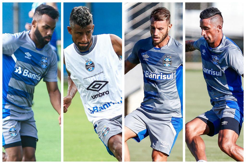 As opções de Renato Portaluppi para substituir Bolaños no Grêmio Montagem sobre fotos / Lucas Uebel/Grêmio, Divulgação/Lucas Uebel/Grêmio, Divulgação