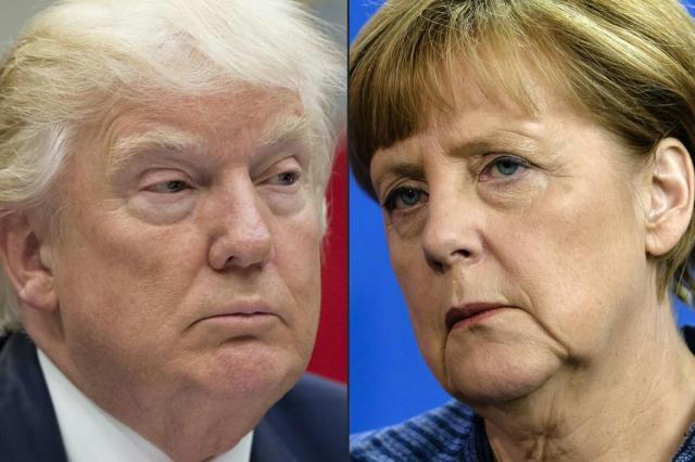 Após declarações polêmicas, Trump recebe Merkel na Casa Branca SAUL LOEB,CLEMENS BILAN/AFP