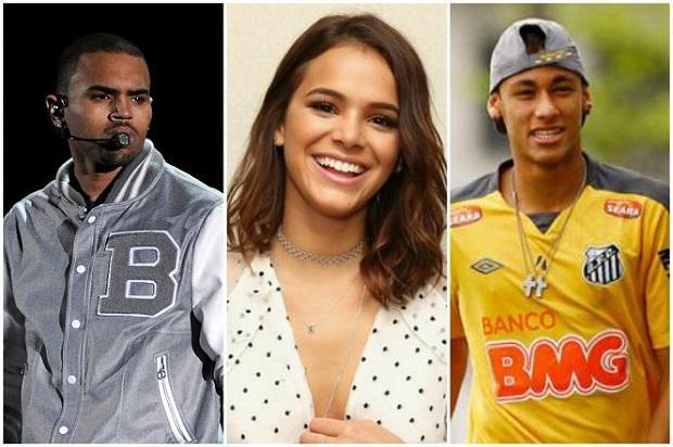 Chris Brown segue Bruna Marquezine no Instagram, e Neymar provoca o cantor /