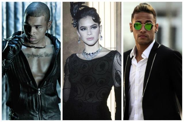 Chris Brown segue Bruna Marquezine e ganha indireta de Neymar em rede social Montagem sobre fotos de Divulgação, TV Globo e Javier Soriano/AFP/