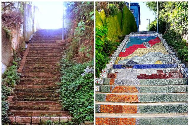 Moradora transforma escadaria abandonada em um dos recantos mais encantadores de Porto Alegre Cláudia Coelho e Isadora Neumann/Divulgação e Agência RBS