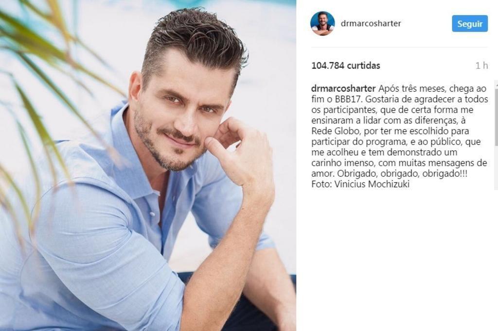 Após final do BBB, Marcos agradece à Globo, aos participantes e ao público em rede social Reprodução/Instagram