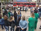 Servidores protestam em frente ao HPS da Capital no dia em que instituição completa 71 anos Felipe Daroit/Rádio Gaúcha
