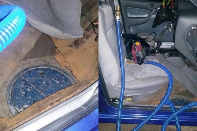 """Polícia prende motorista que usava """"bomba móvel"""" em carro para furtar gasolina de postos Divulgação/Polícia Civil"""