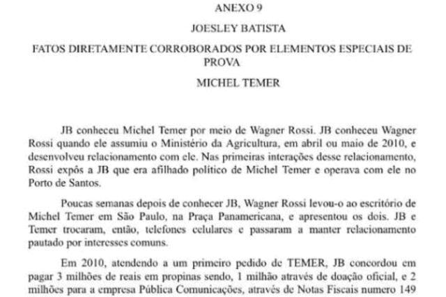 Delação da JBS aponta que Temer pedia propina desde 2010 Reprodução/Reprodução