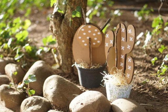 Cáctus de papelão e para montar criam um jardim prático e lúdico Fran Fabrique/Divulgação