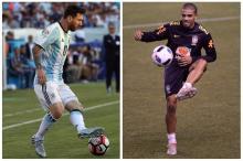 Messi x Taison: o duelo do século Montagem sobre fotos / Jim Rogash/Getty Images, AFP e Pedro Martins/MowaPress/Jim Rogash/Getty Images, AFP e Pedro Martins/MowaPress