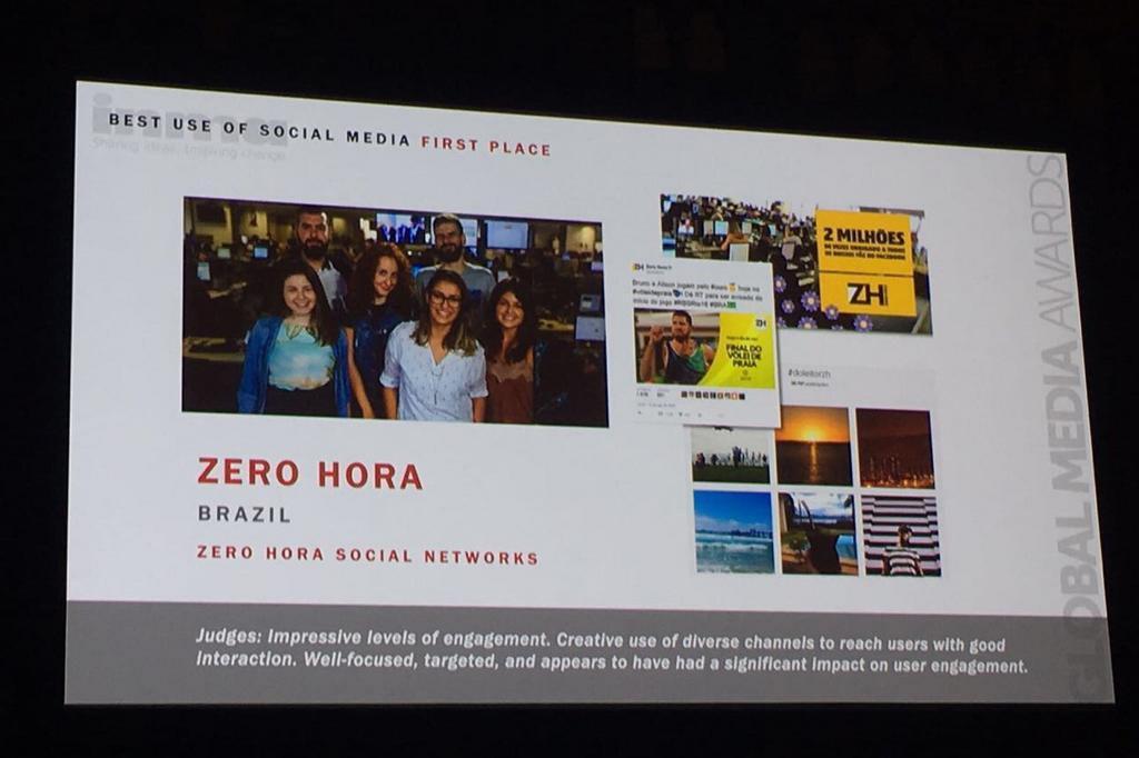 ZH recebe prêmio internacional por utilização das redes sociais