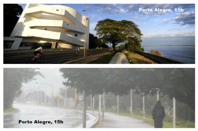 Em um intervalo de cinco horas, temperatura cai 15ºC na Capital Montagem sobre fotos de Ronaldo Bernardi e Lauro Alves/Agencia RBS