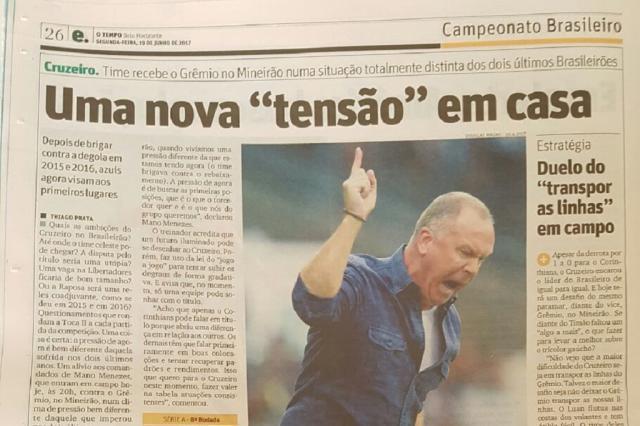 """Imprensa mineira projeta Cruzeiro x Grêmio como jogo para """"acabar com a farra do vice-líder"""" Rodrigo Oliveira/"""