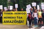 Temer é recebido sob protestos em reunião com governo da Noruega Divulgação/Rainforest Foundation