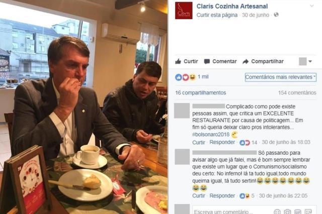 Restaurante de Porto Alegre posta fotos de café da manhã de Bolsonaro e gera polêmica Reprodução/Facebook