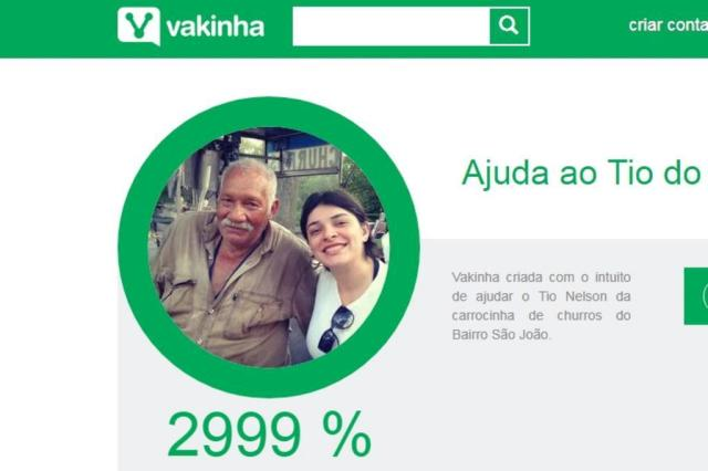 """Depois do """"tio do churros"""" ter carrinho furtado, clientes fazem vaquinha que já arrecadou R$ 15 mil Vakinha/Reprodução"""