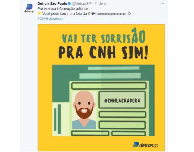 Detran de São Paulo faz campanha no Twitter para lembrar que é possível sorrir na CNH Reprodução / Twitter/Twitter