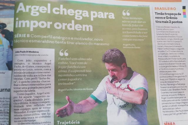 """Argel domina noticiário em Goiânia, e jogo do Inter ainda é """"ignorado"""" pela imprensa local Reprodução / Jornal O Popular/Jornal O Popular"""