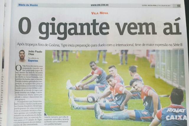 """Presença do Inter em Goiânia é exaltada pela imprensa local: """"O gigante vem aí"""" Rodrigo Oliveira / Agência RBS/Agência RBS"""