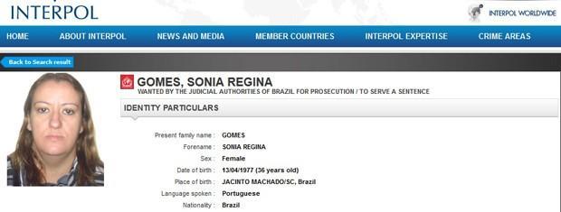 Mulher que já esteve na lista das 10 brasileiras mais procuradas da Interpol foge de Presídio de Caxias Foto: Reprodução/InterpoL/