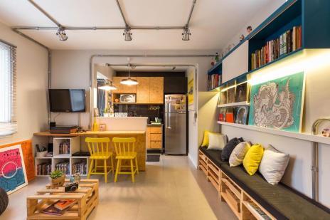 Sala e cozinha ganham reforma em estilo industrial com materiais de baixo custo (Marcelo Donadussi/Divulgação Rimaz ArqDesign)